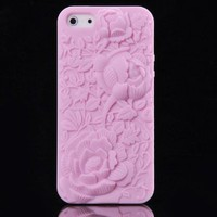 eFuture(TM) Pink 3D Sculpture Rose Flower Silicone Soft Case Cover fit for the new Iphone5 5G +eFuture's nice Keyring