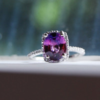 2.4ct Plum cushion sapphire ring Platinum 900 diamond ring engagement ring