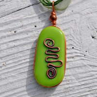 Green Celtic design pendant fused glass and by GeckoGlassDesign