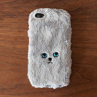 Cat iPhone Cover for iPhone5 - Grey (eyes are Blue)