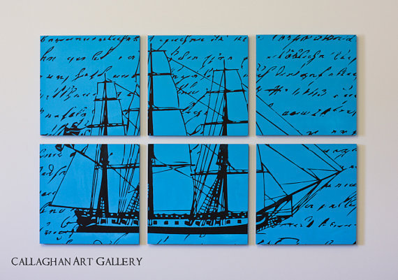 The Custom Vintage Ship Screen Print by CallaghanArtGallery