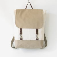 Ivory, Beige canvas backpack / Laptop backpack / School bag / Laptop bag / With Leather closure, Front pocket, Unique Design of BagyBag