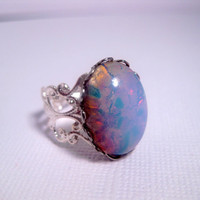 Blue Fire Opal Ring  Cabochon  Filigree by FashionCrashJewelry