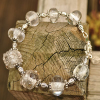 Chunky clear glass lampwork bead bracelet by GeckoGlassDesign