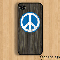 IPHONE 5 CASE PEACE Sign colored on dark wood iPhone 4 case iPhone 4S case iPhone case Hard Plastic Case Soft Rubber Case