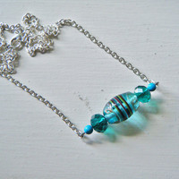 Horizontal Turquoise Blue Beaded Necklace