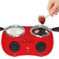 Total Chef CM20G Deluxe Chocolatiere Electric Fondue with Two Melting Pots (Red): Kitchen & Dining