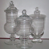 Set of 3 Glass Apothecary Jars