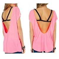 Neon Coral Peach Pink Open Black Strapped Back Blouse Shirt USA Made Fashion