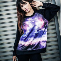 Galaxy Sweatshirt - Space Screenprinted Colourful Longsleeved Shirt In Black.