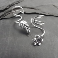 Sterling Ear Cuff Pair PETALS &amp; LEAF by SunnySkiesStudio on Etsy