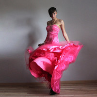 Neon pink wedding prom princess dress