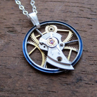 Clockwork Pendant &quot;Verge&quot; Recycled Mechanical Watch Gears and Intricate Sculpture Wearable Art Not Quite Steampunk Assembly Necklace