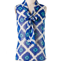 Indigo Splash Ikat Print Top - Blue + Turquoise -  $38.00 | Daily Chic Tops | International Shipping
