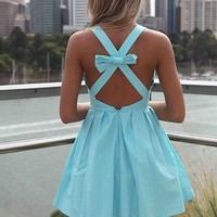 Baby Blue Sleeveless Mini Dress with Cross Bow Back