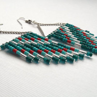 Teal Red and Silver Hand Beaded Earrings by OliveTreeHandmade