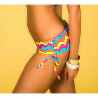 Chevron Boyshort Bikini Bottom - Adjustable Side Scrunch - Fully Lined  - Scrunch Ruched Butt - High Quality Swimwear Fabric - New