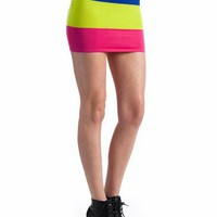 colorblock knit mini skirt $18.40 in LIMEFUCH - Neon | GoJane.com