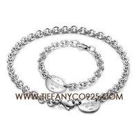 Shopping Cheap Return to Tiffany Oval Tag Necklace and Bracelet Set At Tiffanyco925.com - Discount Tiffany Setting