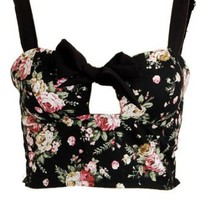 Amazon.com: Floral Bow Tie Front Crop Padded Cup Bustier Bralet Small: Clothing