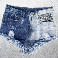"""TWO FACED"" RAD FESTIVAL VINTAGE INSPIRED HIGH WAISTED SHORTS WITH STUDS  