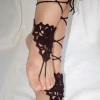 Black  Lace barefoot Sandals, Sexy, wedding Graduation day,Gothic, Lolita