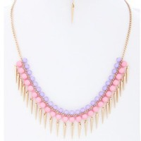 Beaded Spike Dangle Necklace Pink