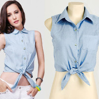 Light Blue Soft Denim Bow Tie Front Rockabilly Cloth Mod Crop Shirt Top Blouse S