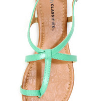 City Classified Kimie Aqua Toe Loop Thong Sandals