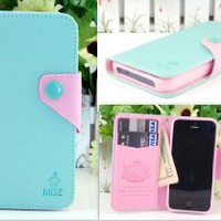 IP5 MOZ Mint Leather Case Card Holder Wallet + Stylus + Charm for Apple Iphone 5 Ship From Hong Kong: Cell Phones &amp; Accessories
