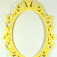 Yellow Ornate Oval Metal Picture Frame by LilytheDogVintage