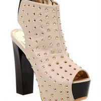 STUDDED PLATFORM Ankle Booties High Heel Stud Spiked Chunky Fashion Sexy Shoe