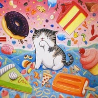 Handmade Gifts | Independent Design | Vintage Goods Junk Food Kitty! Print