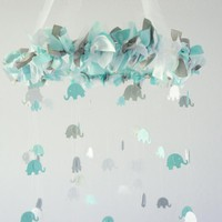 Aqua, Gray & White Elephant Nursery Mobile