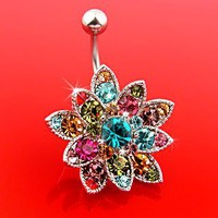 Genuine Swarovski Crystals Set Flower Hinged Barbell Dangle Belly Button Ring Navel Body Jewelry 14 Gauge B106