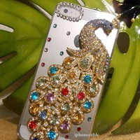 1X AMAZING USA RHINESTONE PEACOCK BLING HOT IPHONE 5 HARD CASE COVER FREE SCREEN