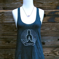 Buddha Yoga Racerback Tank Top - Tri-Blend Black