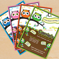 Owl Printable Birthday Invitation DIY File, Choose Your Color