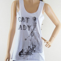 Cat Lady (Size S) Art Design Cat Tank Top Women T-Shirt Cat Shirt Cat T- Shirts White T-Shirt Tunic Screen Print Size S