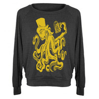 Womens Otto The Octopus Sweatshirt Tri-Blend Raglan Pullover - American Apparel - S M and L (8 Color Options)