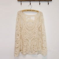 Crochet flower/leaf lace blouse [24]