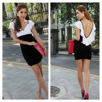 Sexy Deep V-Neckline Flouncing Hem Backless Colormatching Mini Dress For Women China Wholesale - Everbuying.com