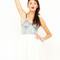 Motel Finch Denim Bustier Dress in White Lace
