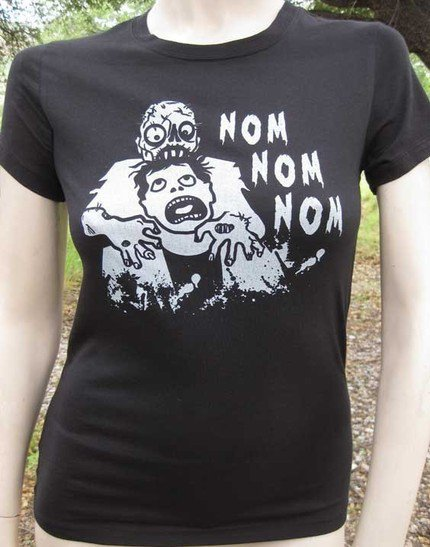 Nom Nom Nom Zombie Eating Brains WOMENS T Shirt by zedszombieranch