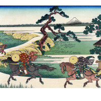 Village of Sekiya at Sumida River Premium Poster by Katsushika Hokusai