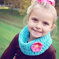 Crochet Cowl - Neckwarmer - Scarf - Iced Aqua with Pink Flower