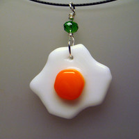Fried Easter Egg Necklace Pendant white orange by GeckoGlassDesign