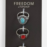 Topshop &#x27;Shield Bead&#x27; Rings (Set of 3) | Nordstrom