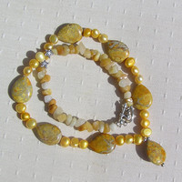 "Yellow Jasper, Pearl & Jade Crystal Gemstone Necklace - ""Golden Samba"""