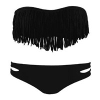 Amazon.com: Zicac Fashion Women's Sexy Tassel Padded Bandeau Fringe Bikini Set Beauty Women Favor 2pcs Padded boho fringe top strapless bikini Swimwear 6 Colors to Choice (black, M US6-8 Cup Size B-C): Clothing